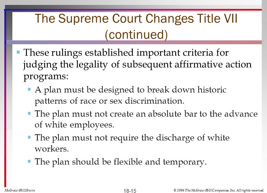 The Supreme Court Changes Title VII (continued)