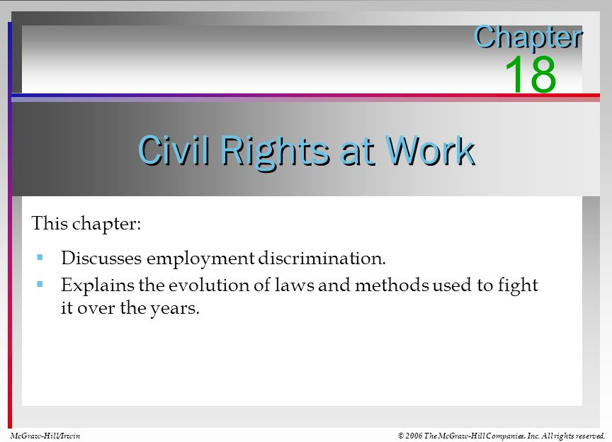 18 Civil Rights at Work Chapter This chapter: