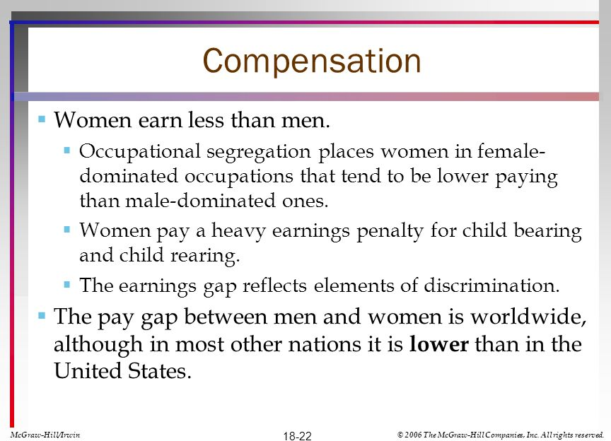 Compensation Women earn less than men.