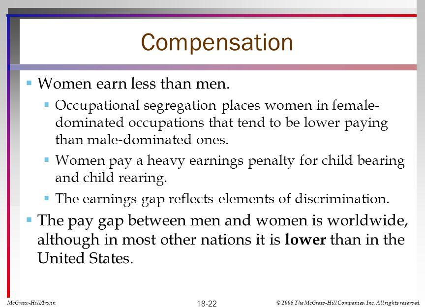 Compensation Women earn less than men.