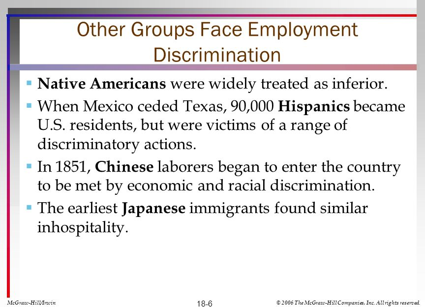 Other Groups Face Employment Discrimination