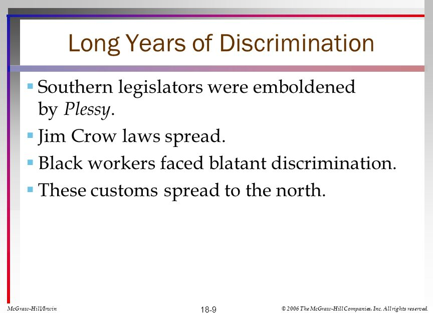 Long Years of Discrimination