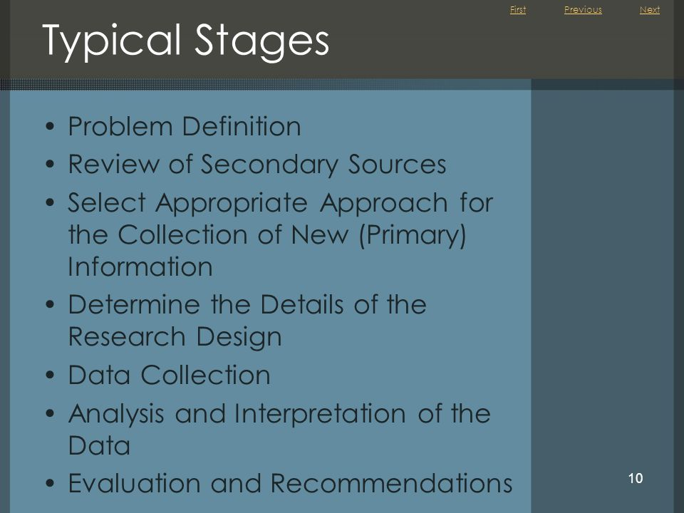 Typical Stages Problem Definition Review of Secondary Sources