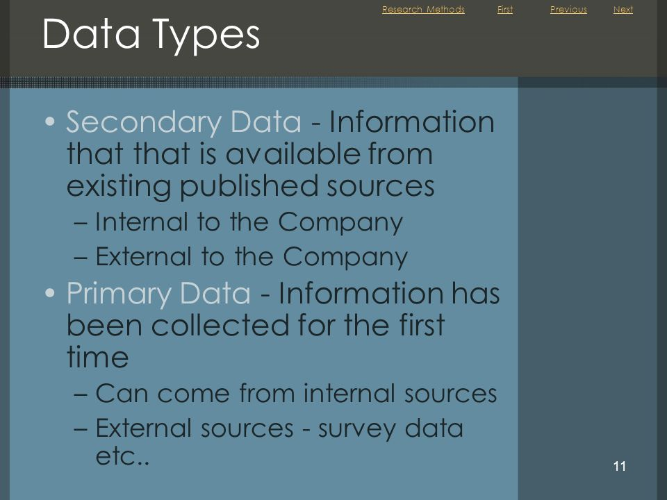 Research Methods Previous. Next. Data Types. Secondary Data - Information that that is available from existing published sources.