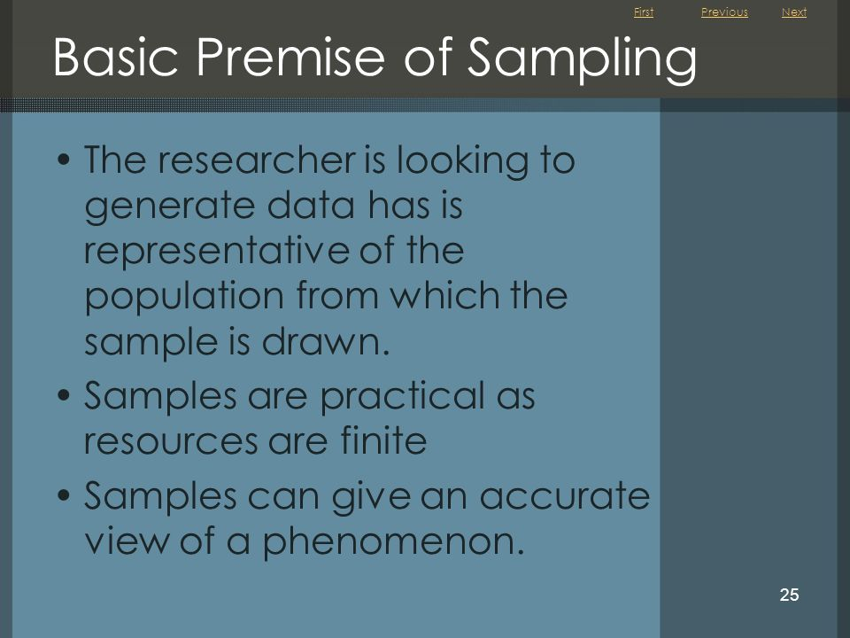 Basic Premise of Sampling