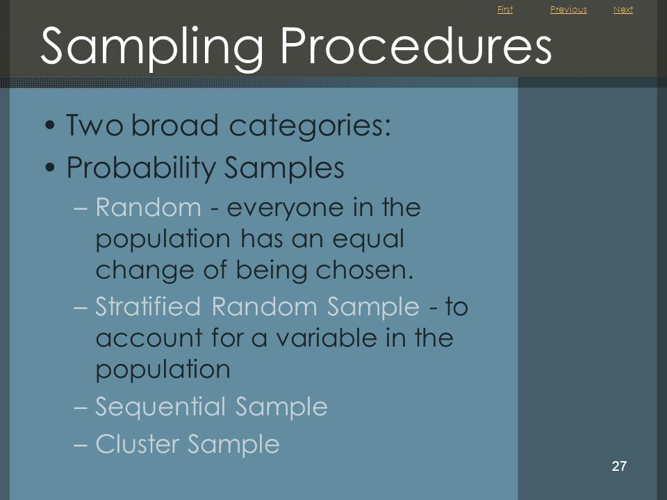 Sampling Procedures Two broad categories: Probability Samples
