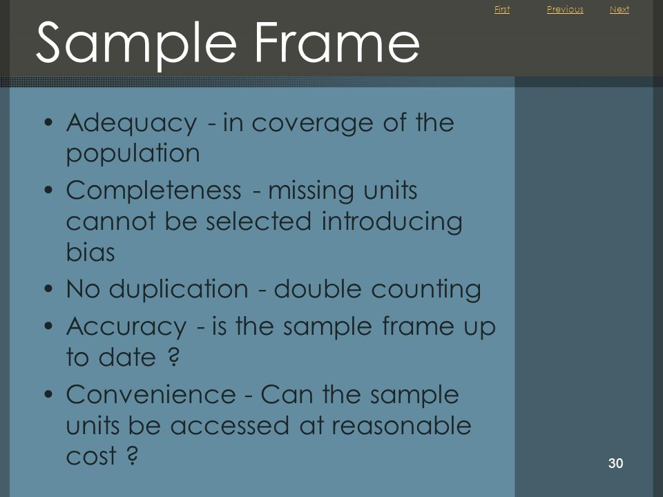 Sample Frame Adequacy - in coverage of the population