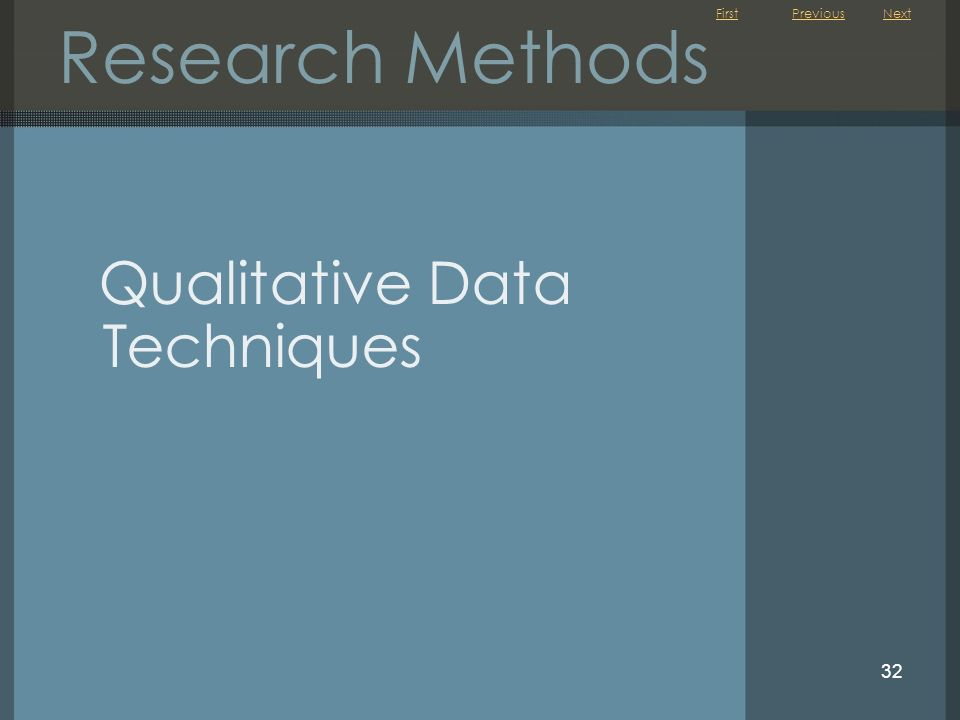 Research Methods Previous Next Qualitative Data Techniques