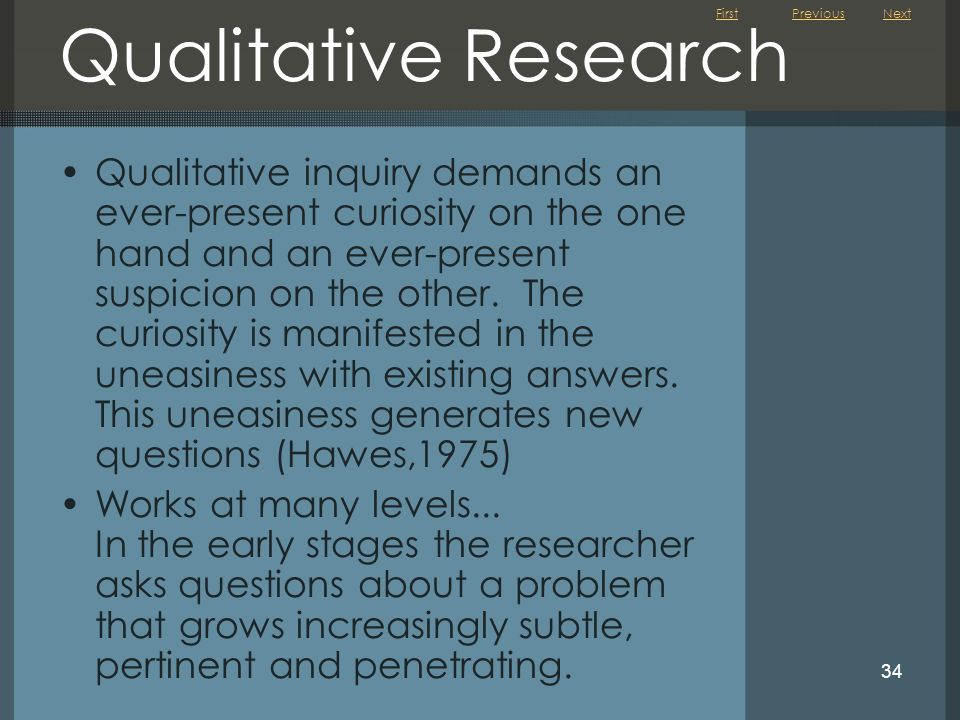Previous Next. Qualitative Research.