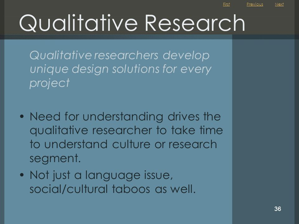 Qualitative Research Previous. Next. Qualitative researchers develop unique design solutions for every project.