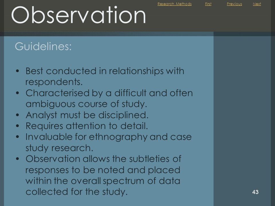 Observation Guidelines: