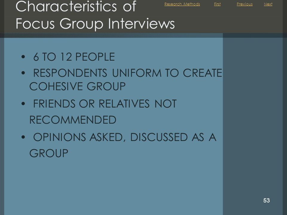Characteristics of Focus Group Interviews