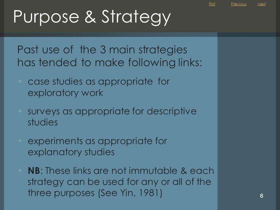 Purpose & Strategy Previous. Next. Past use of the 3 main strategies has tended to make following links: