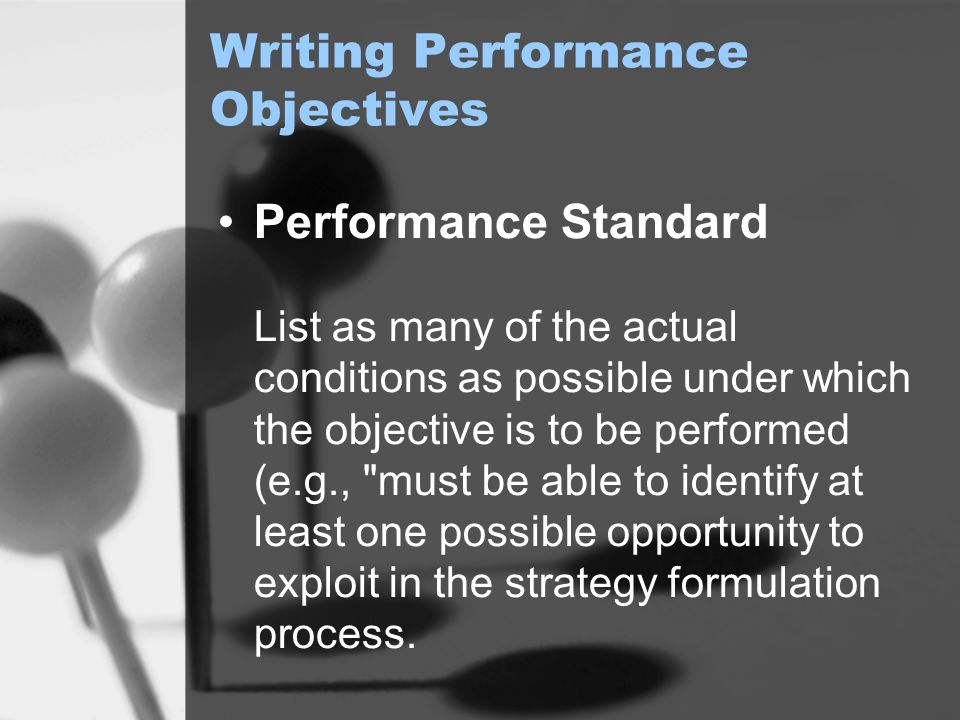 Writing Performance Objectives