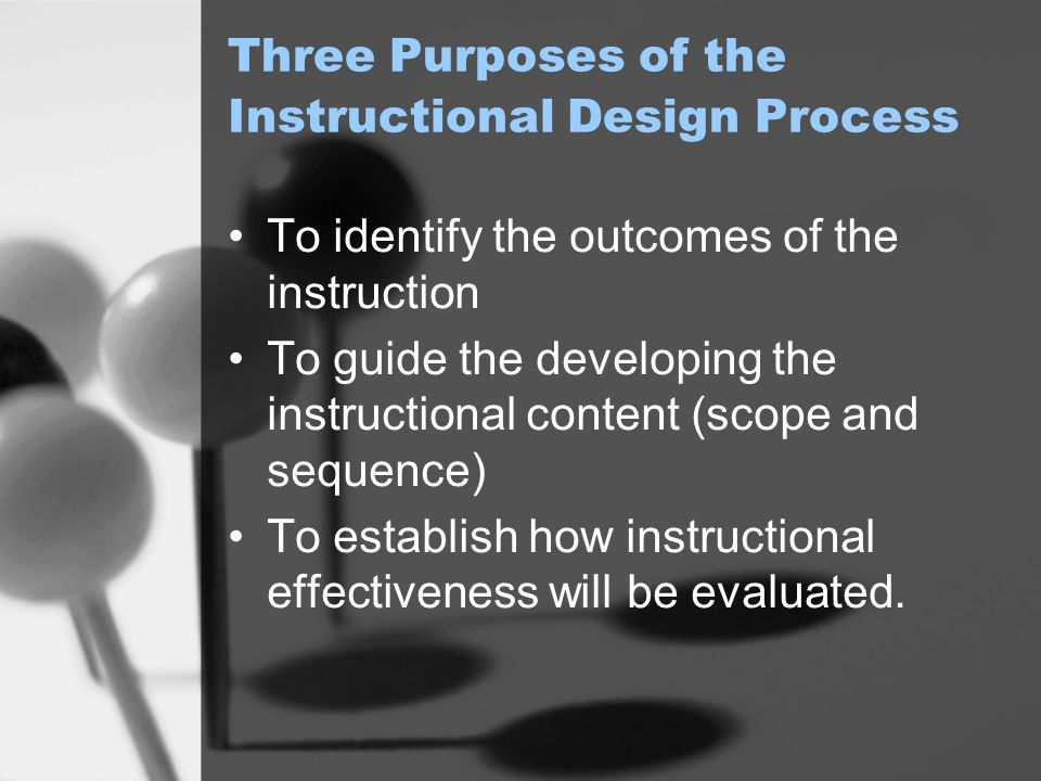 Three Purposes of the Instructional Design Process
