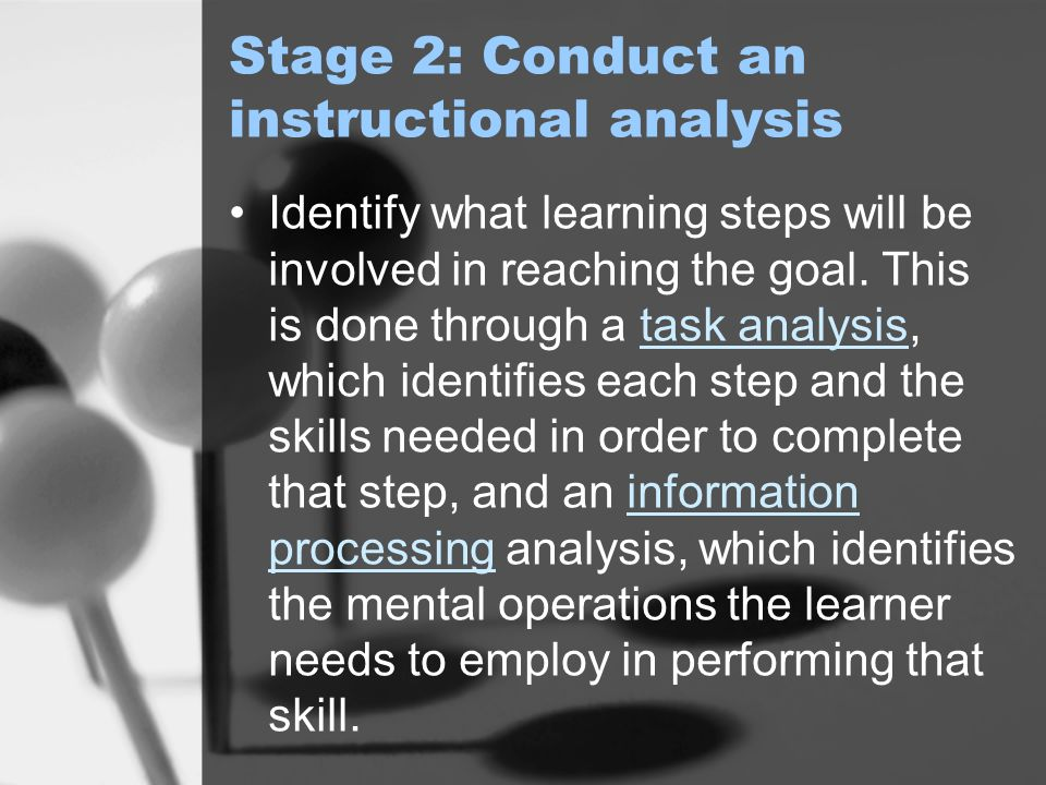 Stage 2: Conduct an instructional analysis