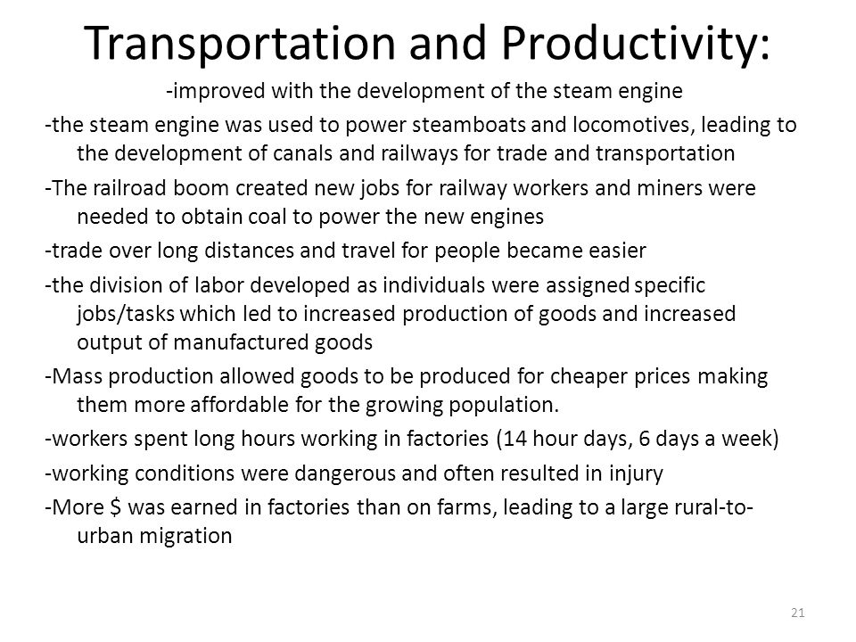 Transportation and Productivity: