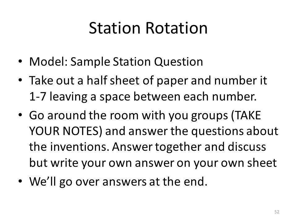 Station Rotation Model: Sample Station Question