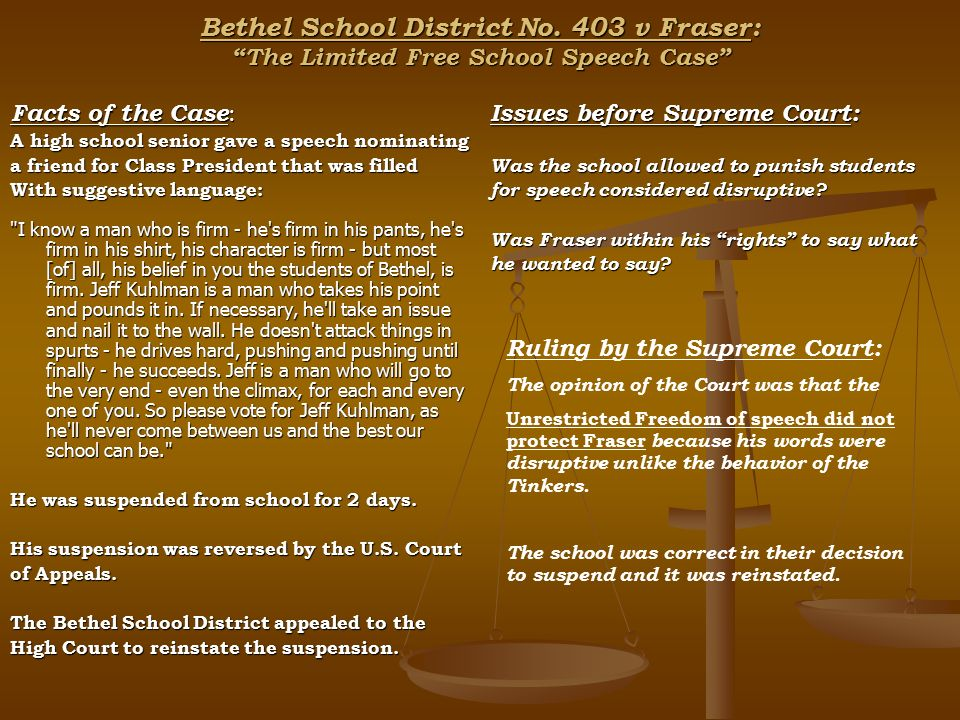 an analysis of the the case of bethel school district Bethel school district vs  2005 cafr budget analysis for the school district of hillsborough  bethel school district vs fraser this case involved.