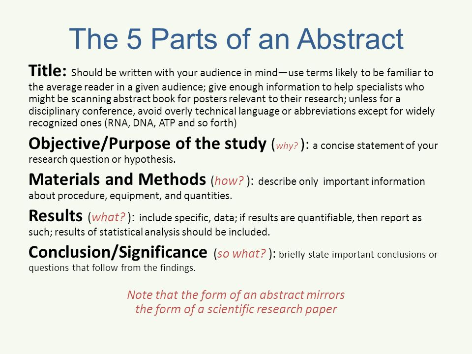 parts of research paper abstract Structure of a scientific paper scientific papers are comprised of the following parts: title abstract states a specific research question, and.