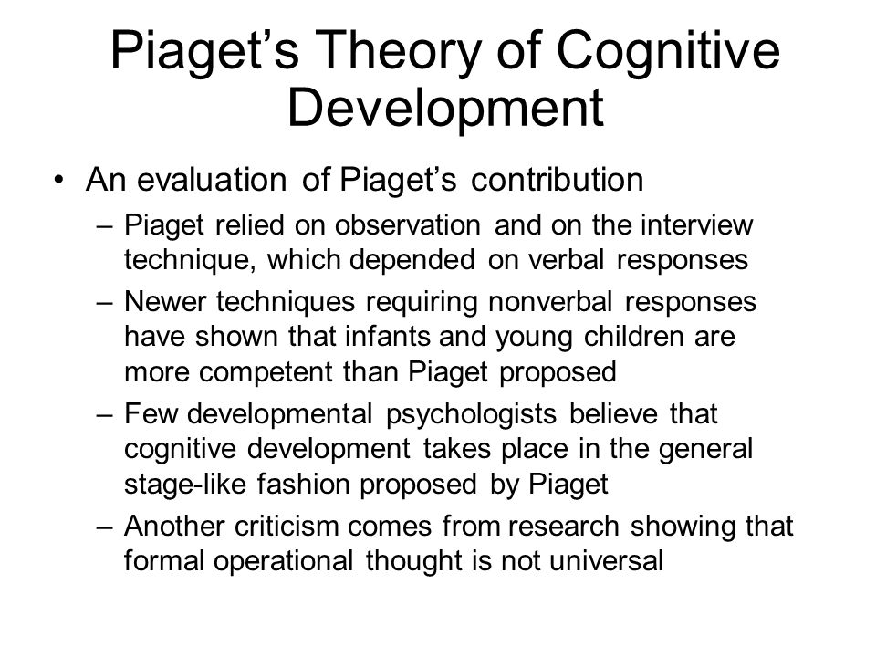 Piaget's Theory of Cognitive Development