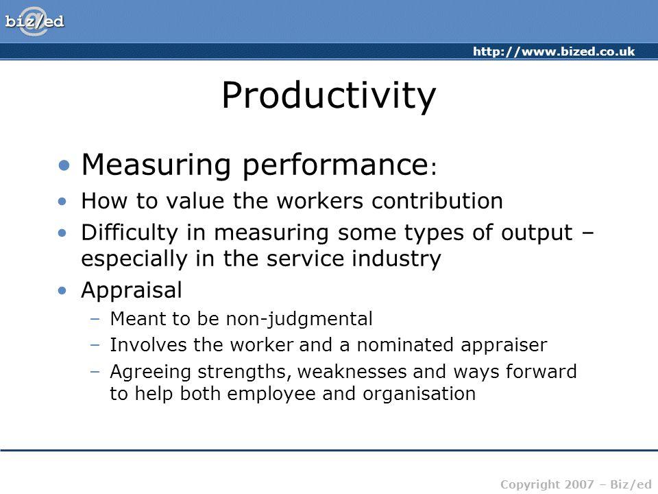 Productivity Measuring performance: