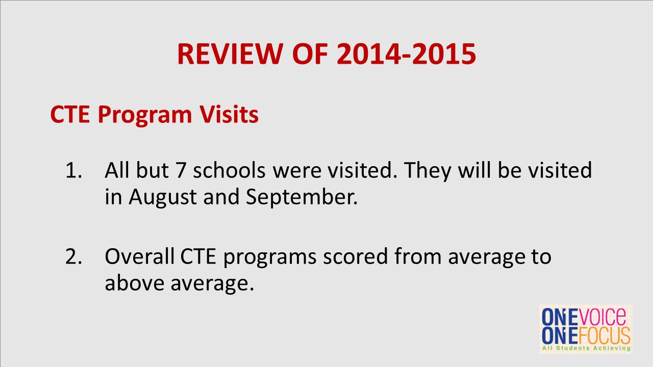REVIEW OF 2014-2015 CTE Program Visits