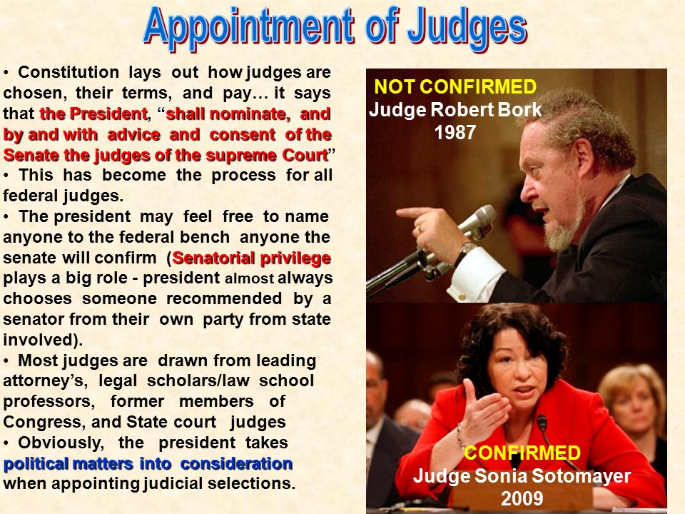 Appointment of Judges NOT CONFIRMED Judge Robert Bork 1987 CONFIRMED