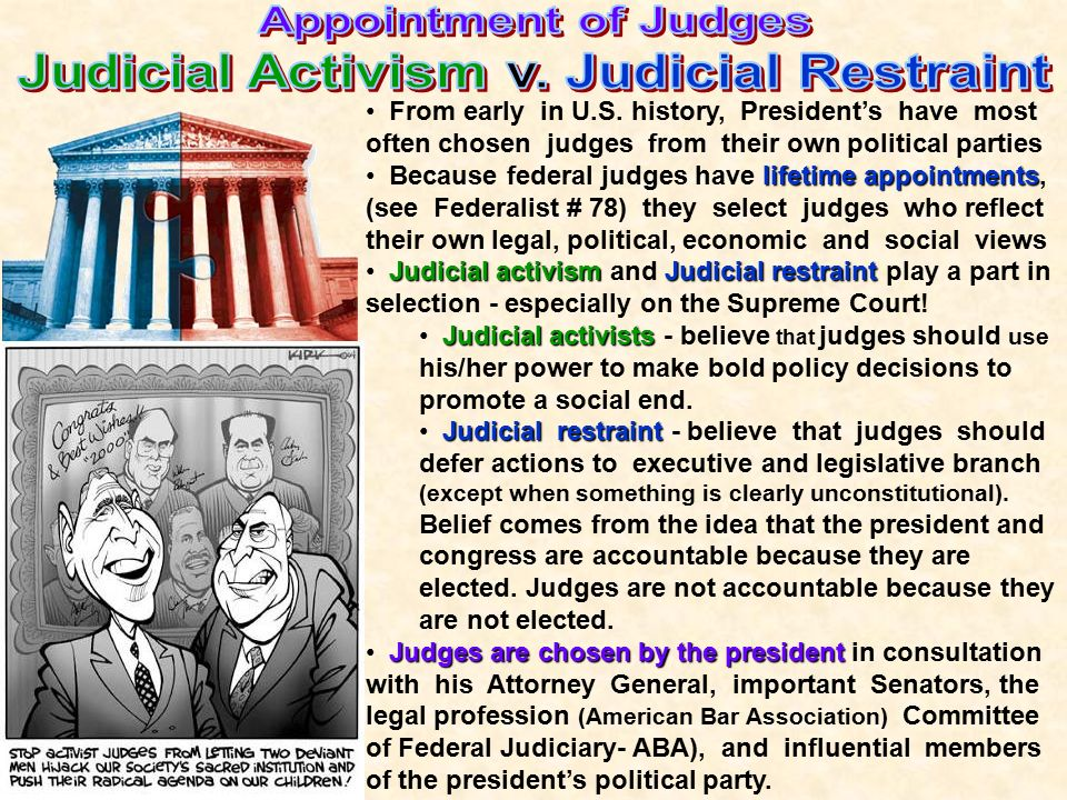 judicial restraint vs judicial activism Surely, the argument runs, this is judicial activism, and surely it reveals   defenders of judicial restraint—pointed out when the elements of the.