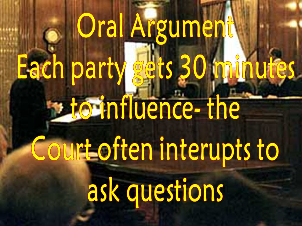 Each party gets 30 minutes Court often interupts to