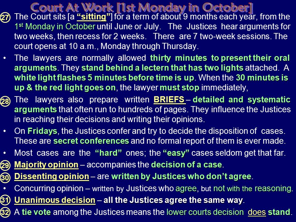 Court At Work [1st Monday in October]