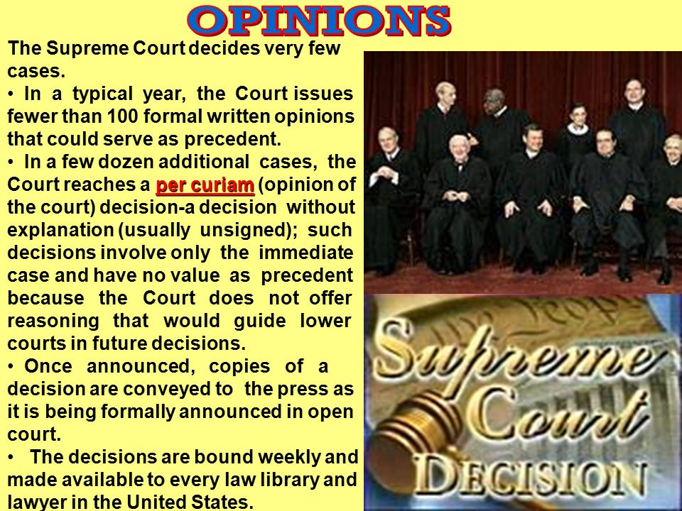 OPINIONS The Supreme Court decides very few cases.