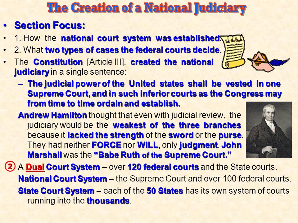 The Creation of a National Judiciary