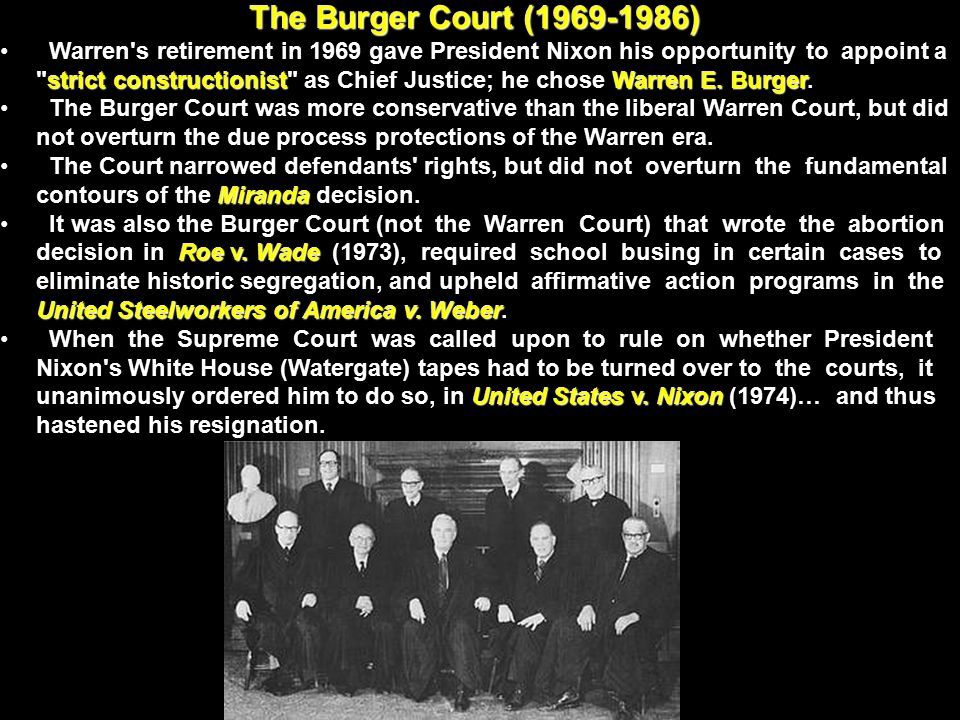 The Burger Court ( )