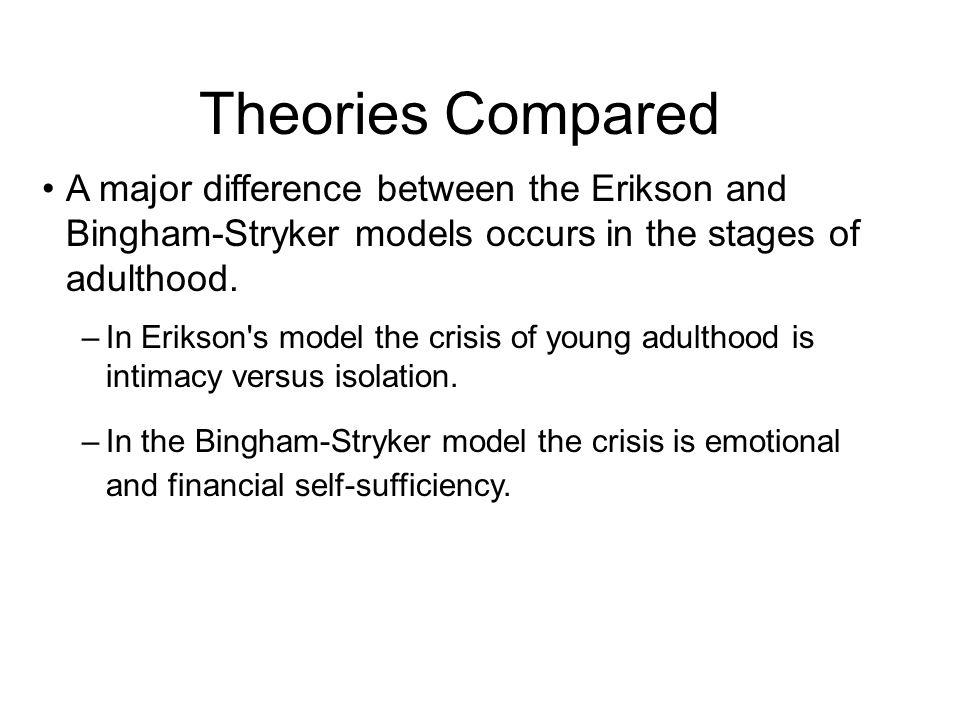 Theories Compared A major difference between the Erikson and Bingham-Stryker models occurs in the stages of adulthood.