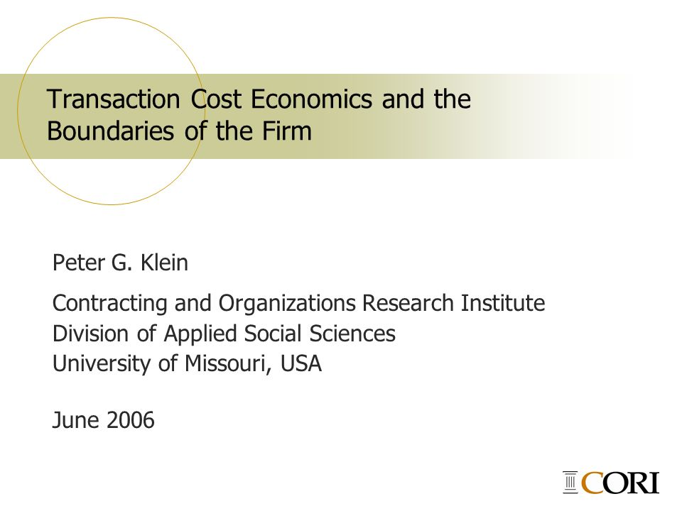 how transaction cost economics and social For me, the problem of social cost was an essay in economics it was aimed at economists  if transaction costs were zero (as is assumed in standard economic.
