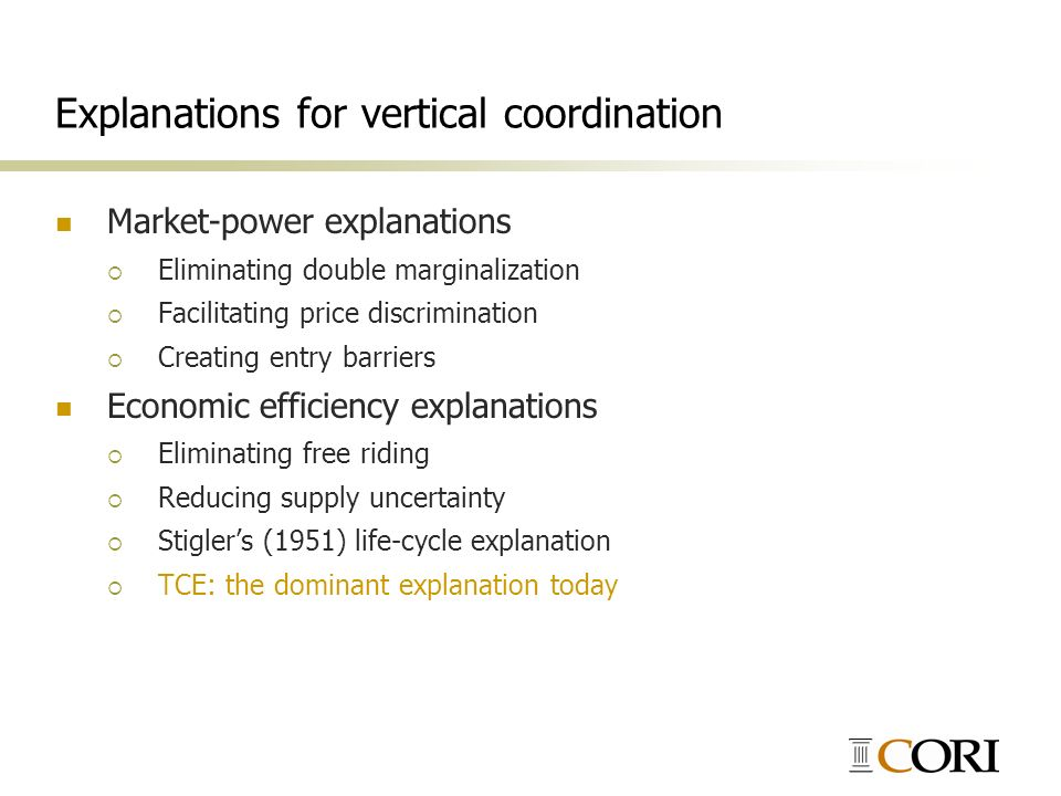 Explanations for vertical coordination