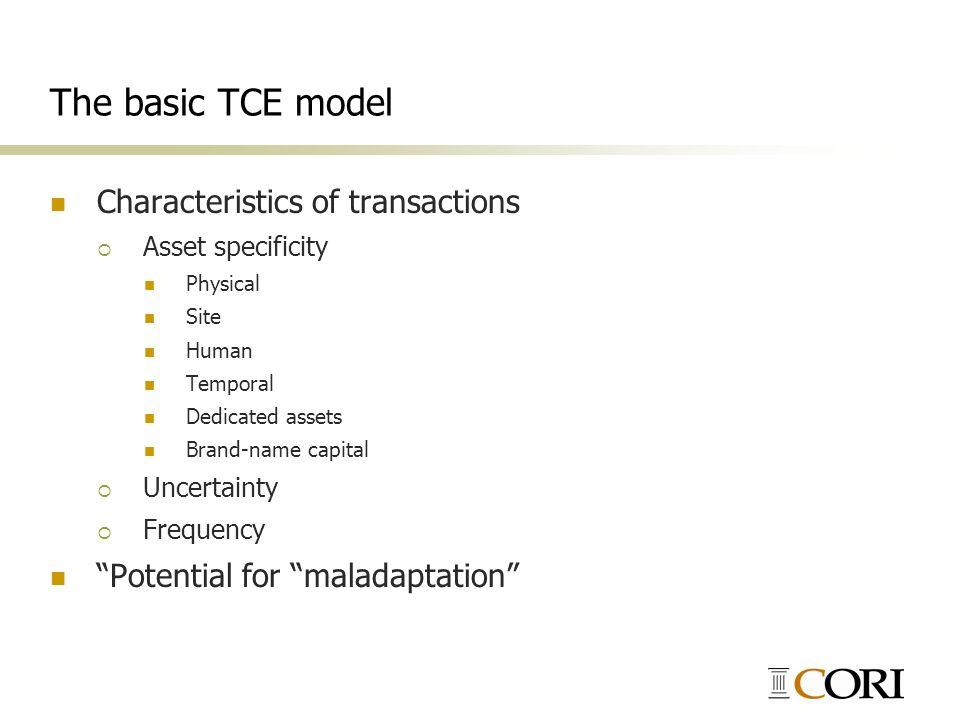The basic TCE model Characteristics of transactions