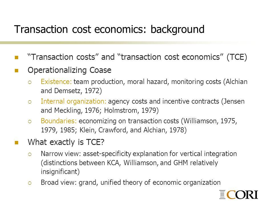 Transaction cost economics: background