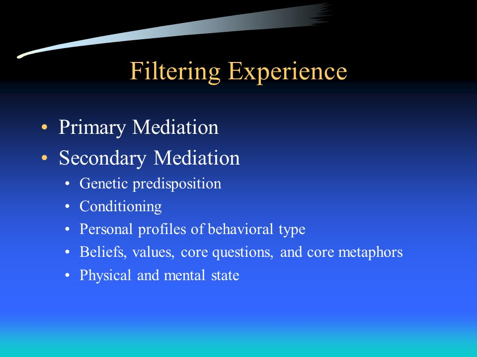 Filtering Experience Primary Mediation Secondary Mediation