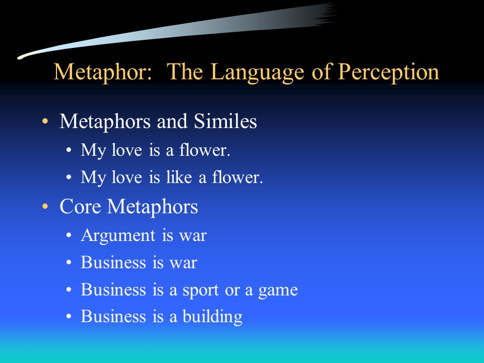 Metaphor: The Language of Perception