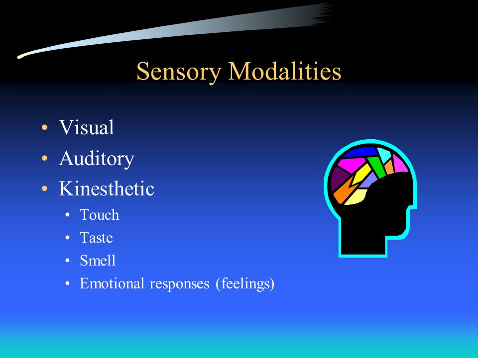 Sensory Modalities Visual Auditory Kinesthetic Touch Taste Smell