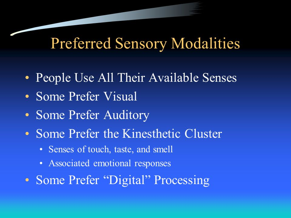 Preferred Sensory Modalities