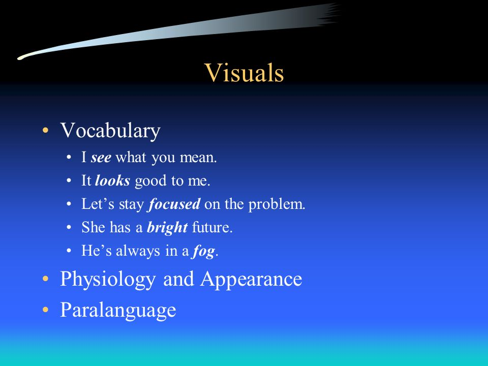 Visuals Vocabulary Physiology and Appearance Paralanguage
