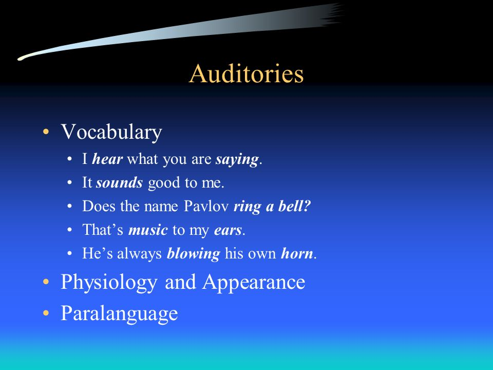 Auditories Vocabulary Physiology and Appearance Paralanguage
