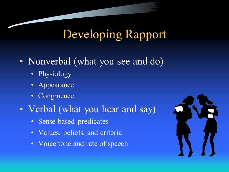 Developing Rapport Nonverbal (what you see and do)