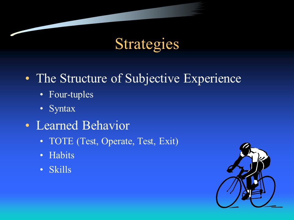 Strategies The Structure of Subjective Experience Learned Behavior