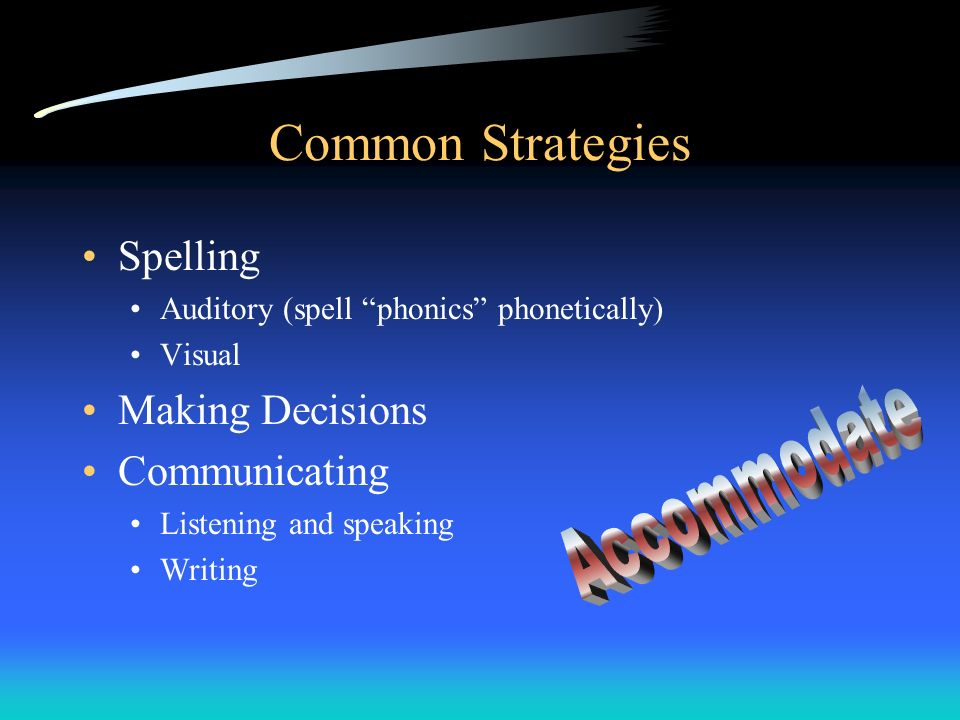 Common Strategies Accommodate Spelling Making Decisions Communicating