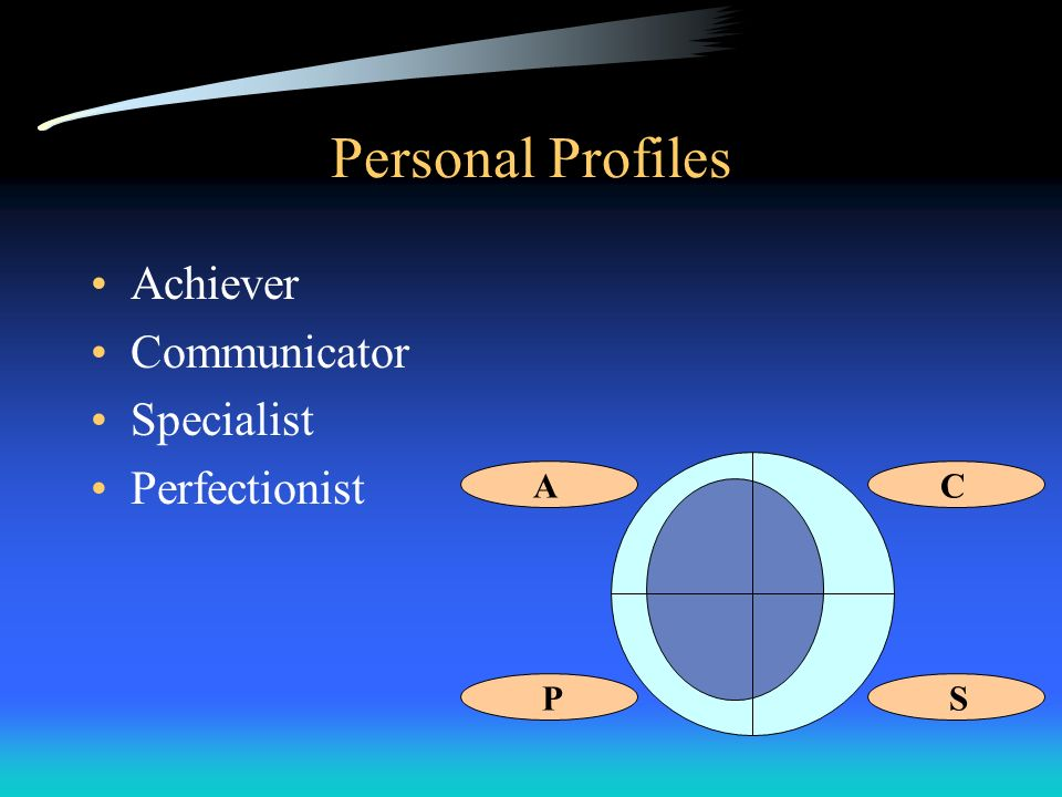 Personal Profiles Achiever Communicator Specialist Perfectionist A C P