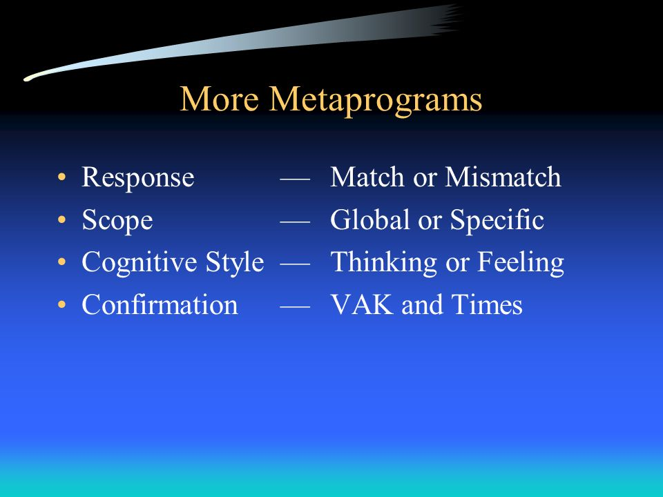 More Metaprograms Response — Match or Mismatch
